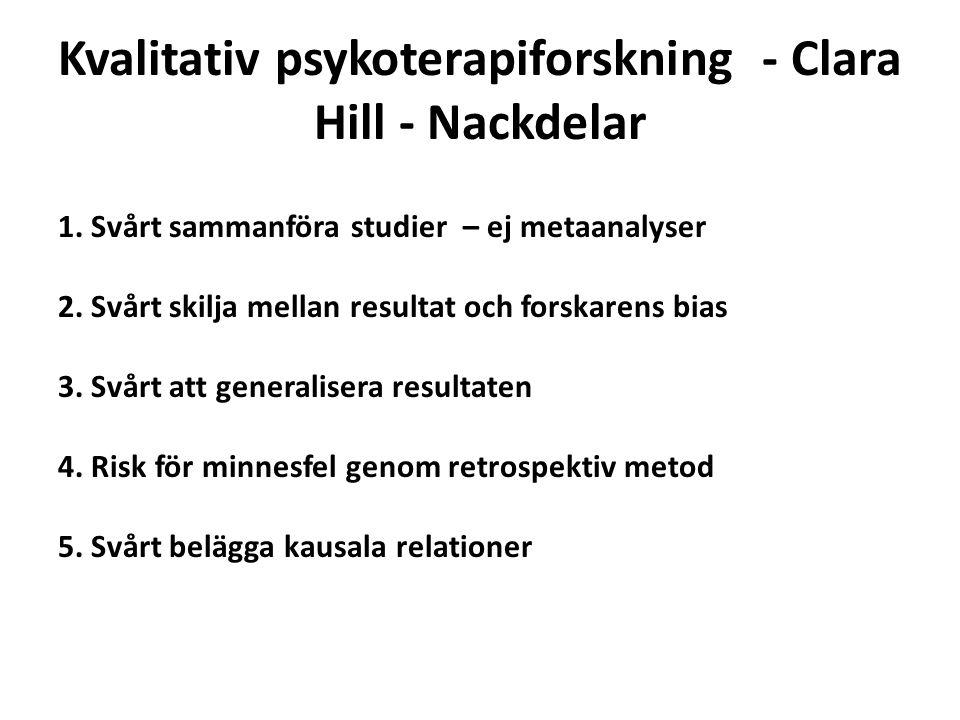 Kvalitativ psykoterapiforskning - Clara Hill - Nackdelar 1. Svårt sammanföra studier – ej metaanalyser 2. Svårt skilja mellan resultat och forskarens