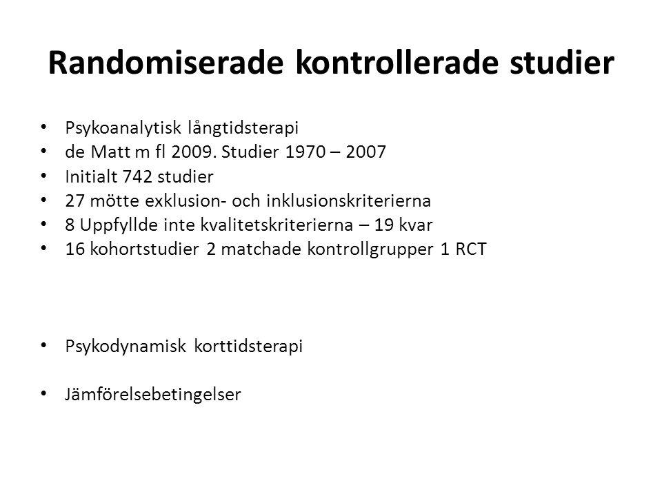 Randomiserade kontrollerade studier Psykoanalytisk långtidsterapi de Matt m fl 2009. Studier 1970 – 2007 Initialt 742 studier 27 mötte exklusion- och