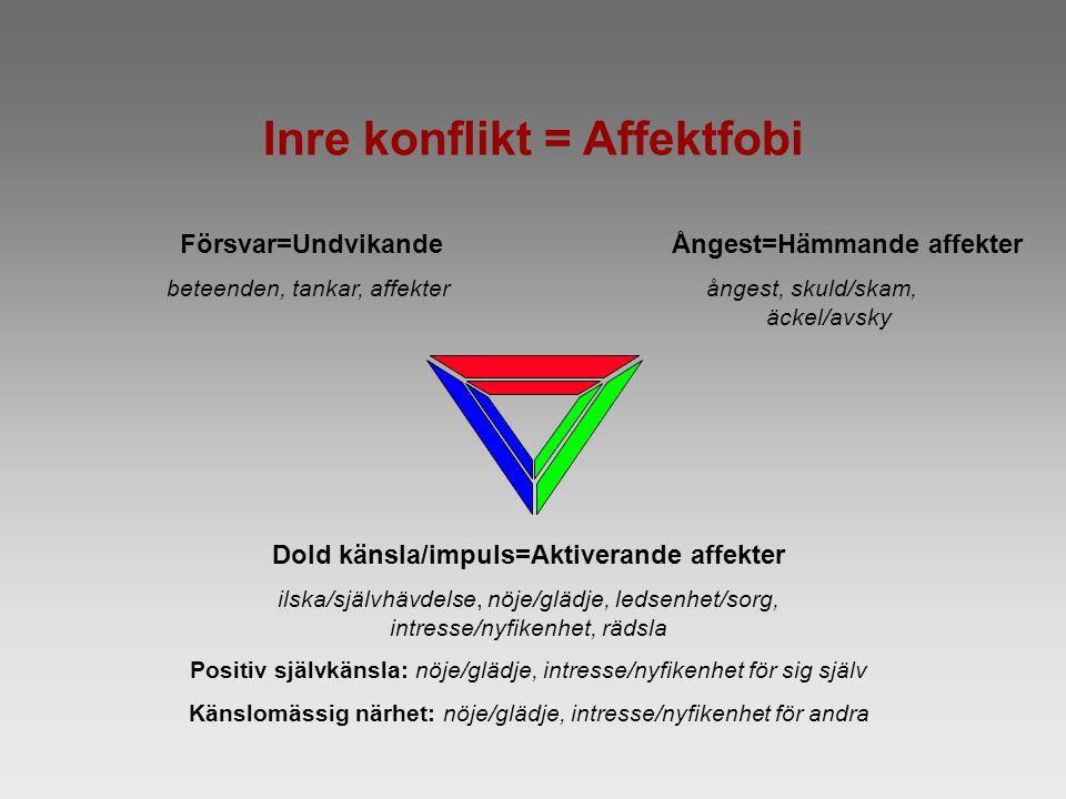 Inre konflikt = Affektfobi Försvar=Undvikande beteenden, tankar, affekter Ångest=Hämmande affekter ångest, skuld/skam, äckel/avsky Dold känsla/impuls=Aktiverande affekter ilska/självhävdelse, nöje/glädje, ledsenhet/sorg, intresse/nyfikenhet, rädsla Positiv självkänsla: nöje/glädje, intresse/nyfikenhet för sig själv Känslomässig närhet: nöje/glädje, intresse/nyfikenhet för andra