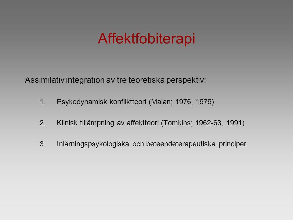 Affektfobiterapi Assimilativ integration av tre teoretiska perspektiv: 1.Psykodynamisk konfliktteori (Malan; 1976, 1979) 2.Klinisk tillämpning av affektteori (Tomkins; 1962-63, 1991) 3.Inlärningspsykologiska och beteendeterapeutiska principer