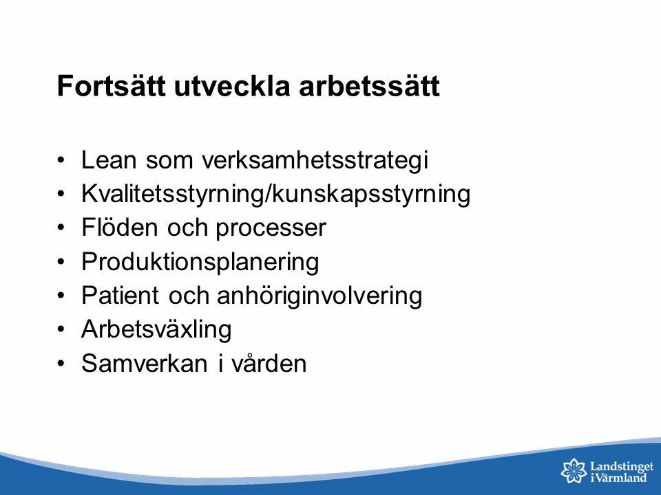 Fortsätt utveckla arbetssätt Lean som verksamhetsstrategi Kvalitetsstyrning/kunskapsstyrning Flöden och processer Produktionsplanering Patient och anh