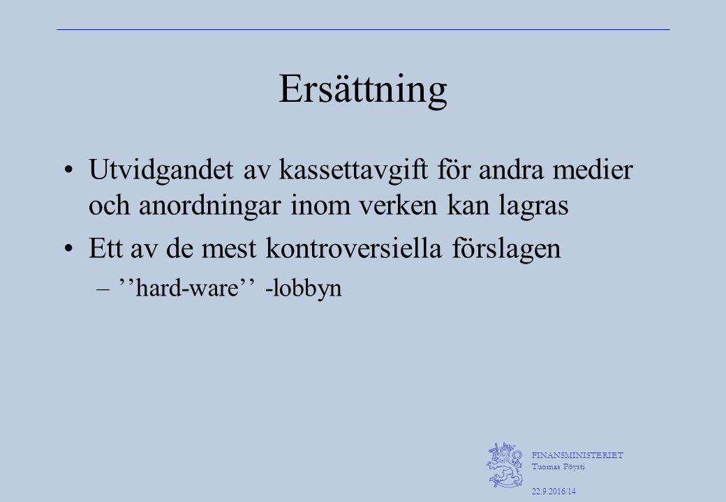 FINANSMINISTERIET Tuomas Pöysti 22.9.2016/14 Ersättning Utvidgandet av kassettavgift för andra medier och anordningar inom verken kan lagras Ett av de mest kontroversiella förslagen –''hard-ware'' -lobbyn