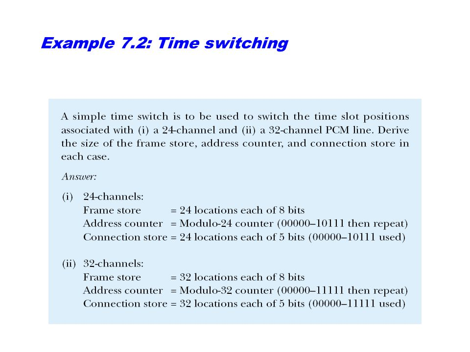 Example 7.2: Time switching