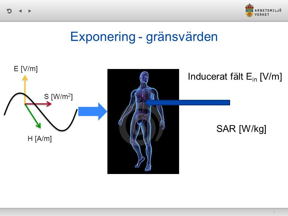 | Exponering - gränsvärden E [V/m] H [A/m] S [W/m 2 ] Inducerat fält E in [V/m] SAR [W/kg]