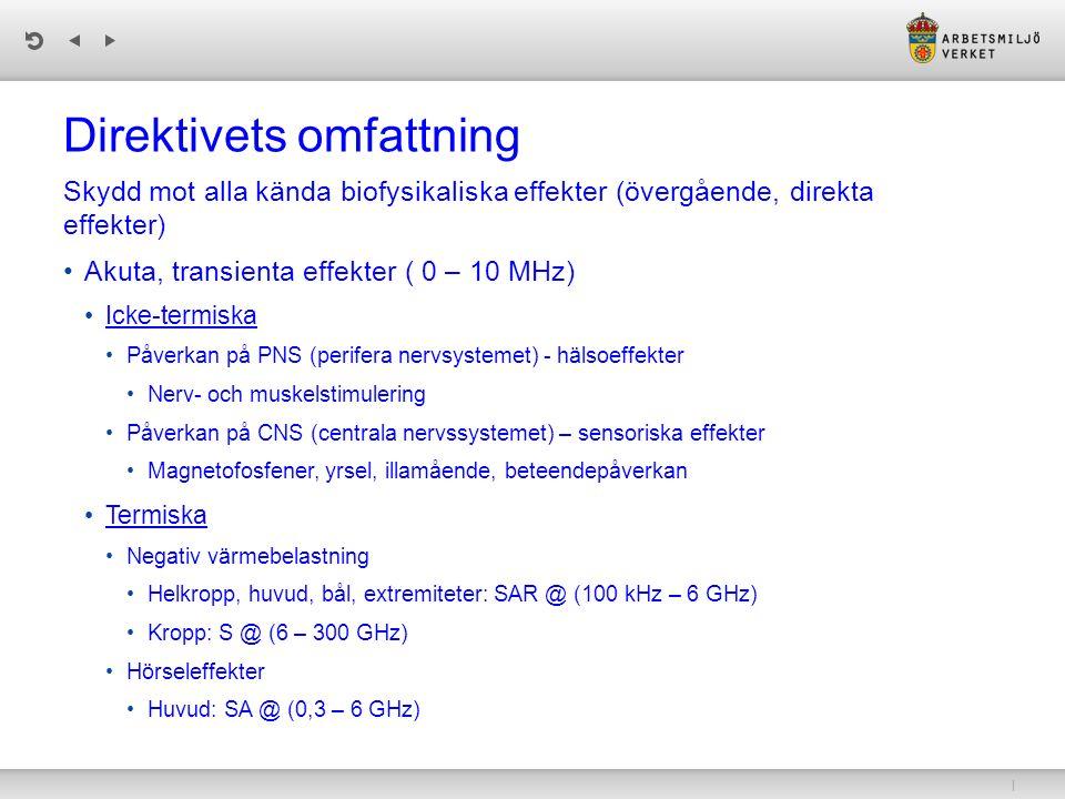 | Direktivets omfattning Skydd mot alla kända biofysikaliska effekter (övergående, direkta effekter) Akuta, transienta effekter ( 0 – 10 MHz) Icke-ter