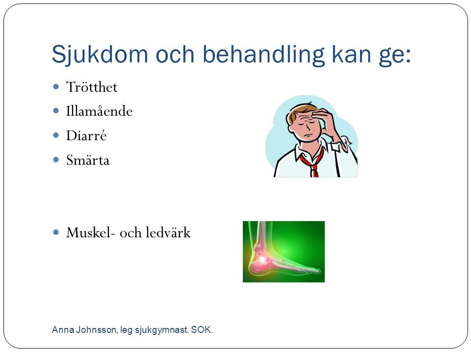 Sjukdom och behandling kan ge: Trötthet Illamående Diarré Smärta Muskel- och ledvärk Anna Johnsson, leg sjukgymnast. SOK.