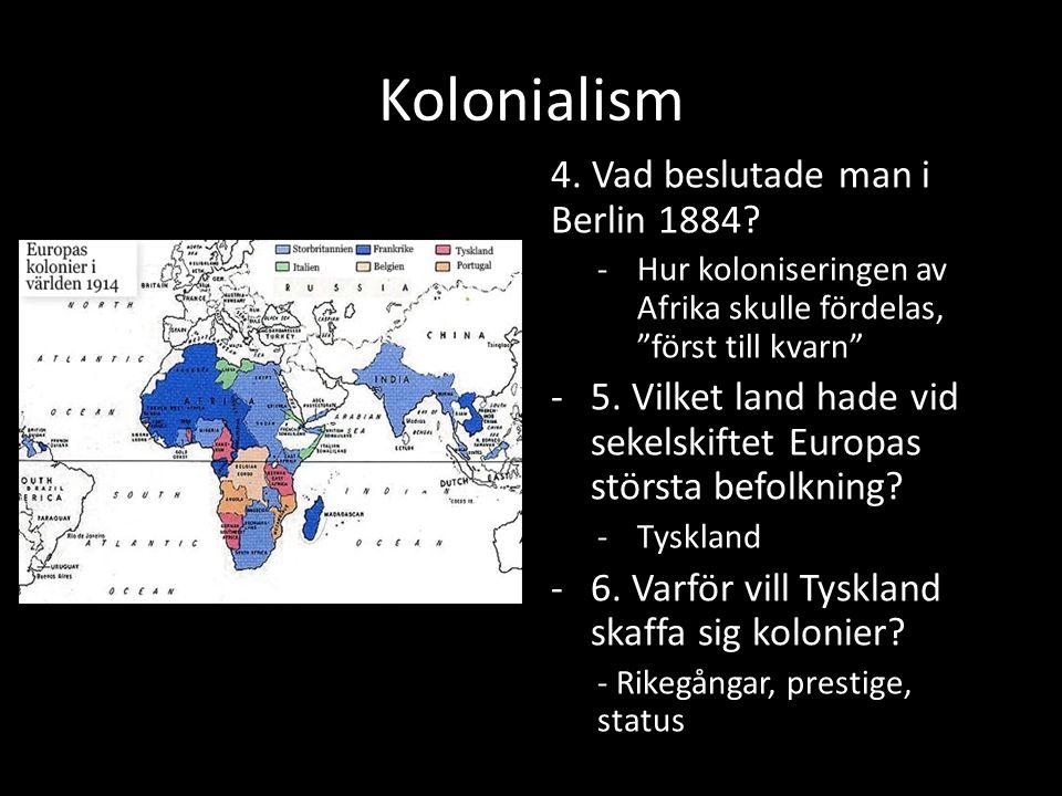 Hur orsakade kolonialismen Kolonialismen bidrog till industriella revolutionen – Mer pengar till de europeiska länderna (triangelhandeln) – Nya industrier; båtar, vapen, järnvägar – Bättre teknik; vapen Länder i Europa ville ha kolonier – Tyskland ville ha fler – Storbritannien och Frankrike kände sig hotade