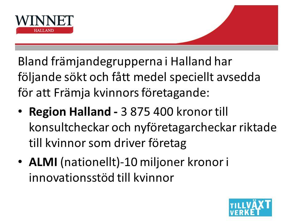Bland främjandegrupperna i Halland har följande sökt och fått medel speciellt avsedda för att Främja kvinnors företagande: Region Halland - 3 875 400 kronor till konsultcheckar och nyföretagarcheckar riktade till kvinnor som driver företag ALMI (nationellt)-10 miljoner kronor i innovationsstöd till kvinnor