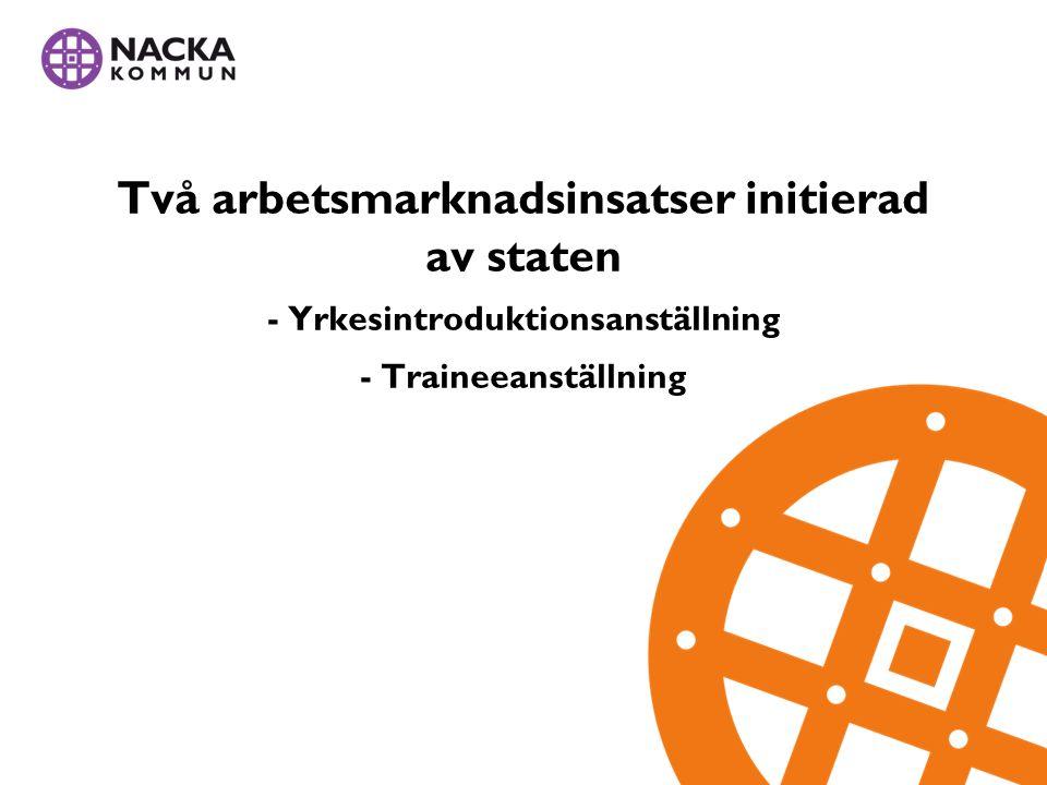 Två arbetsmarknadsinsatser initierad av staten - Yrkesintroduktionsanställning - Traineeanställning