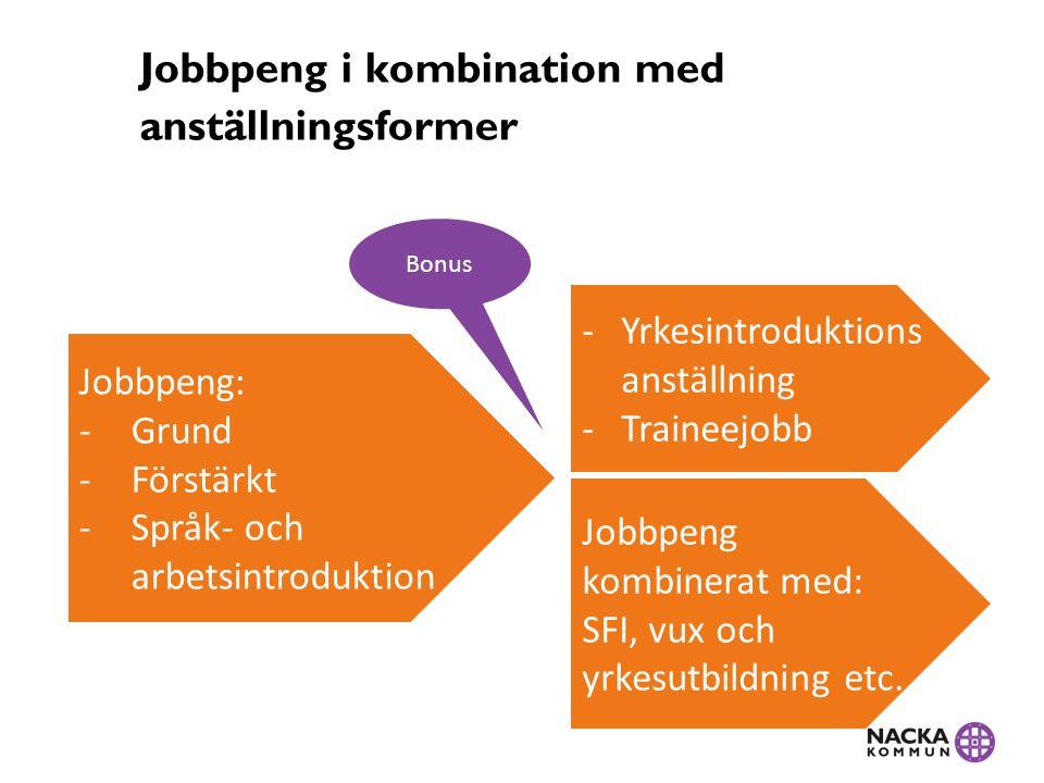 Jobbpeng i kombination med anställningsformer Jobbpeng: -Grund -Förstärkt -Språk- och arbetsintroduktion -Yrkesintroduktions anställning -Traineejobb Jobbpeng kombinerat med: SFI, vux och yrkesutbildning etc.