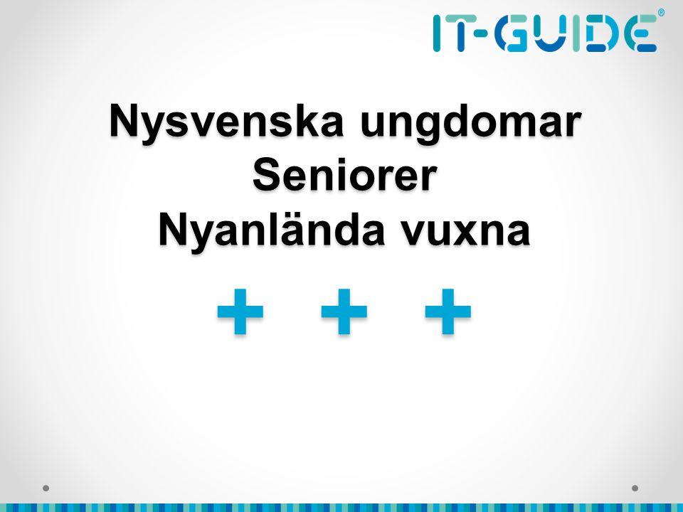 Nysvenska ungdomar Seniorer Nyanlända vuxna + + +