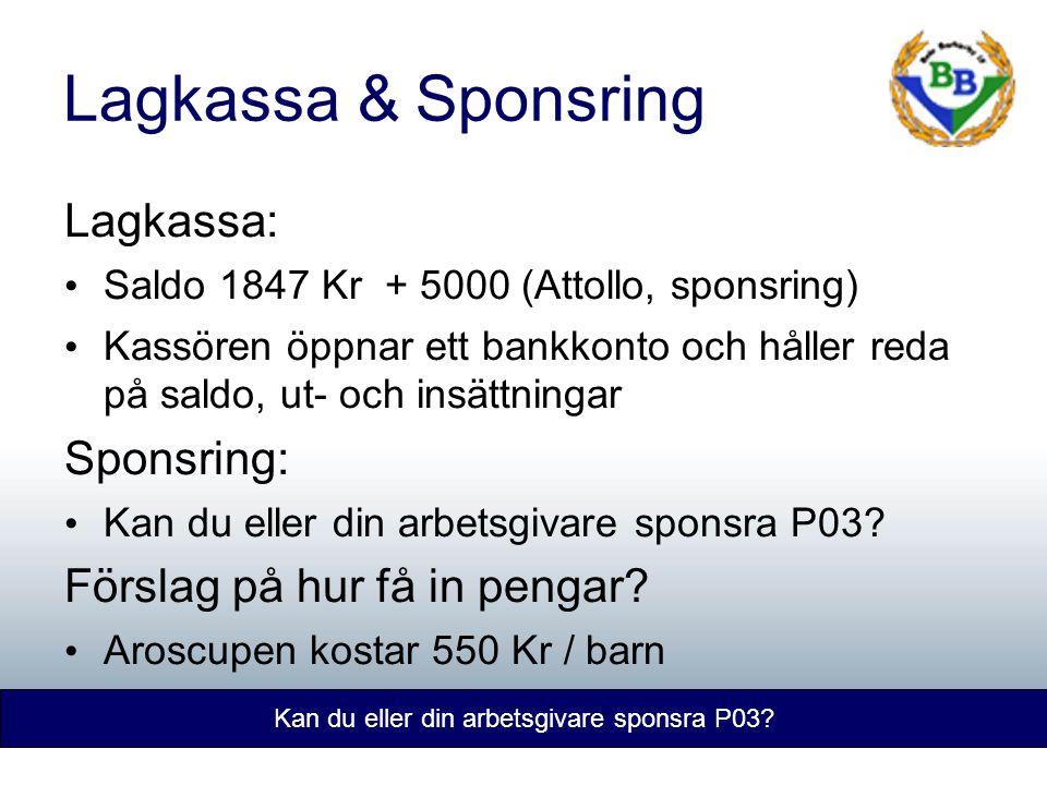 Lagkassa & Sponsring Kan du eller din arbetsgivare sponsra P03.