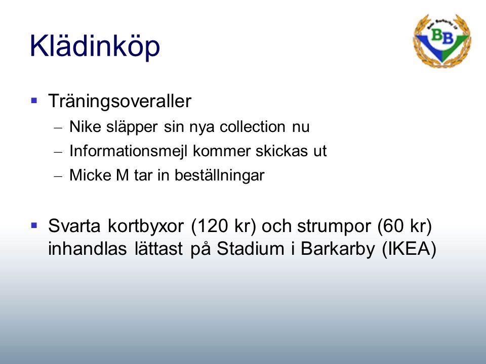 Klädinköp  Träningsoveraller – Nike släpper sin nya collection nu – Informationsmejl kommer skickas ut – Micke M tar in beställningar  Svarta kortbyxor (120 kr) och strumpor (60 kr) inhandlas lättast på Stadium i Barkarby (IKEA)