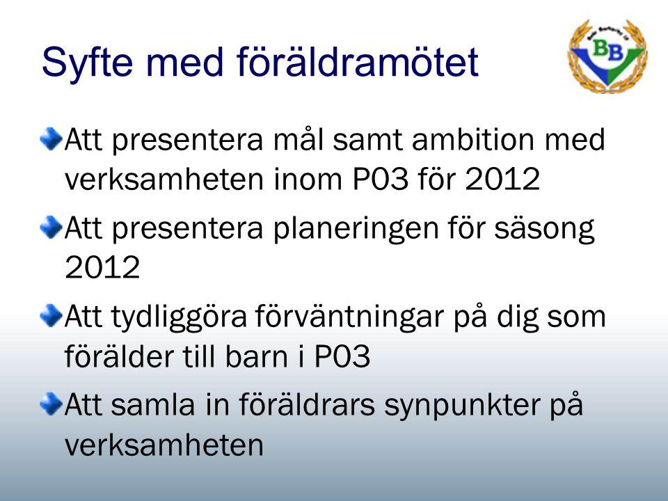 Syfte med föräldramötet Att presentera mål samt ambition med verksamheten inom P03 för 2012 Att presentera planeringen för säsong 2012 Att tydliggöra förväntningar på dig som förälder till barn i P03 Att samla in föräldrars synpunkter på verksamheten