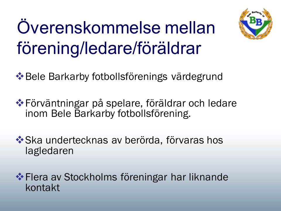 Överenskommelse mellan förening/ledare/föräldrar  Bele Barkarby fotbollsförenings värdegrund  Förväntningar på spelare, föräldrar och ledare inom Bele Barkarby fotbollsförening.