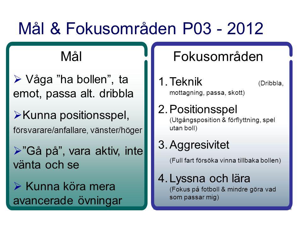 Mål & Fokusområden P03 - 2012 Mål  Våga ha bollen , ta emot, passa alt.