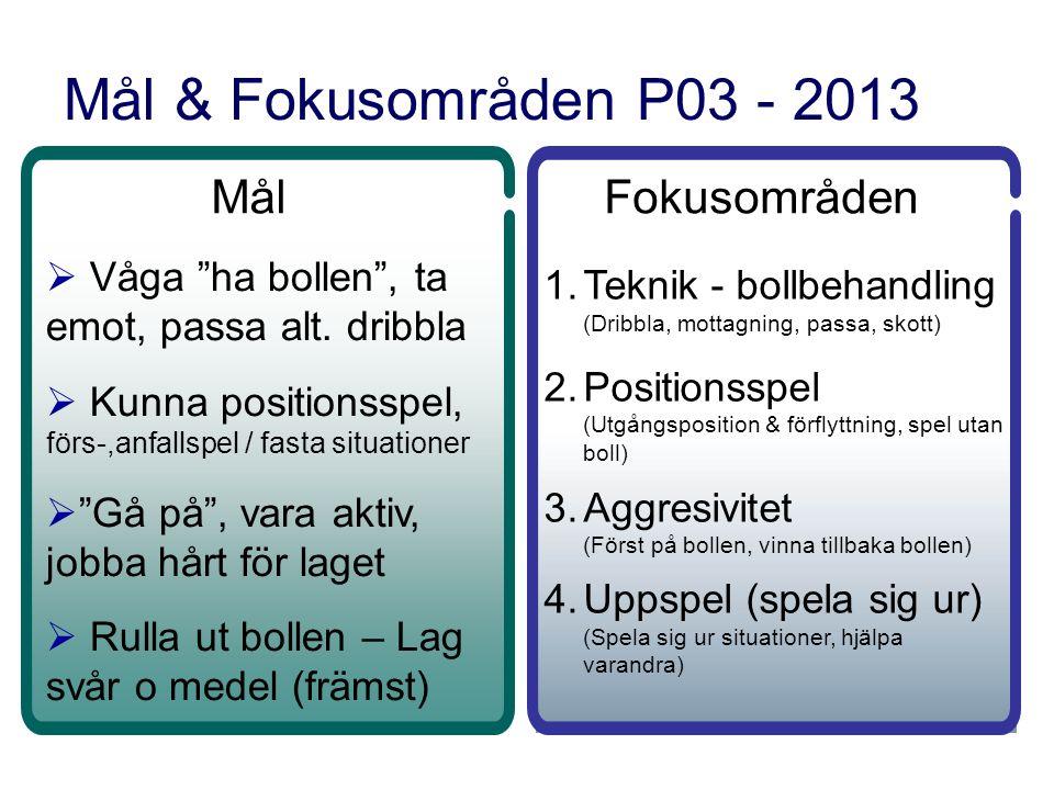 Mål & Fokusområden P03 - 2013 Mål  Våga ha bollen , ta emot, passa alt.