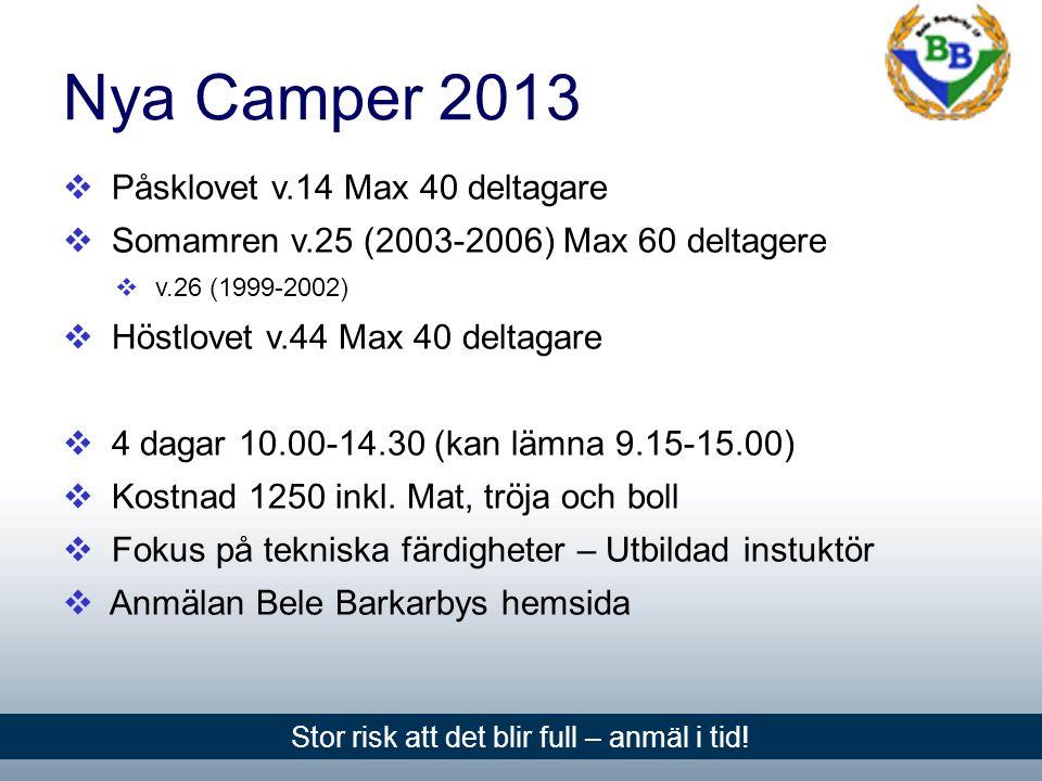 Nya Camper 2013  Påsklovet v.14 Max 40 deltagare  Somamren v.25 (2003-2006) Max 60 deltagere  v.26 (1999-2002)  Höstlovet v.44 Max 40 deltagare  4 dagar 10.00-14.30 (kan lämna 9.15-15.00)  Kostnad 1250 inkl.