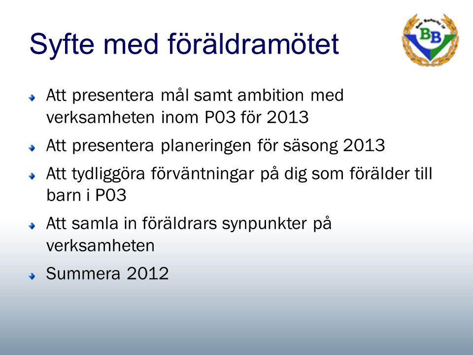 Syfte med föräldramötet Att presentera mål samt ambition med verksamheten inom P03 för 2013 Att presentera planeringen för säsong 2013 Att tydliggöra förväntningar på dig som förälder till barn i P03 Att samla in föräldrars synpunkter på verksamheten Summera 2012