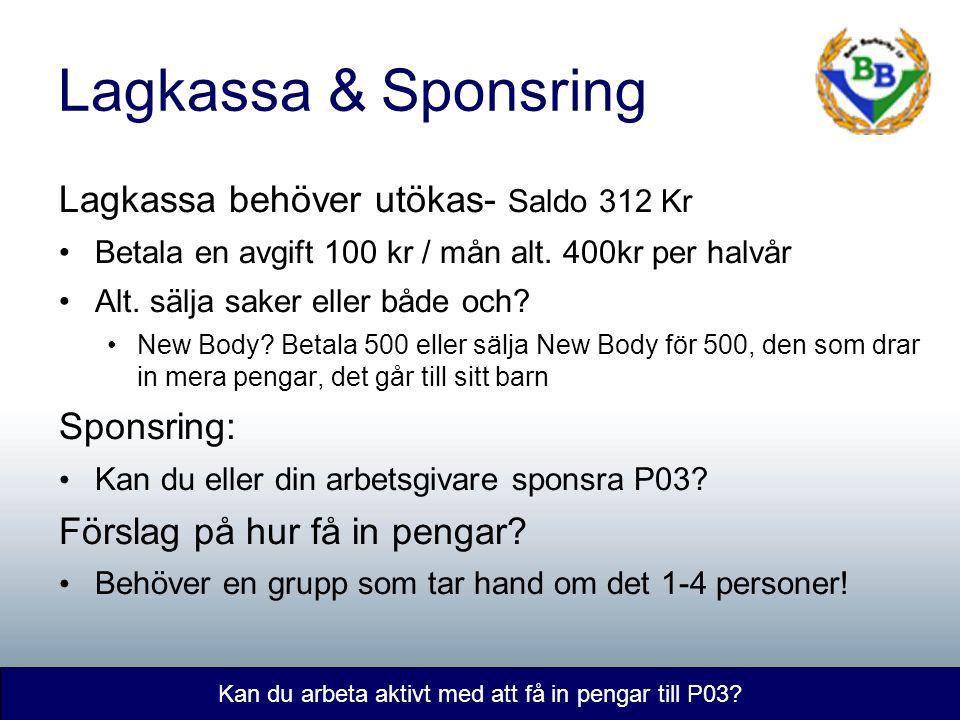Lagkassa & Sponsring Kan du arbeta aktivt med att få in pengar till P03.