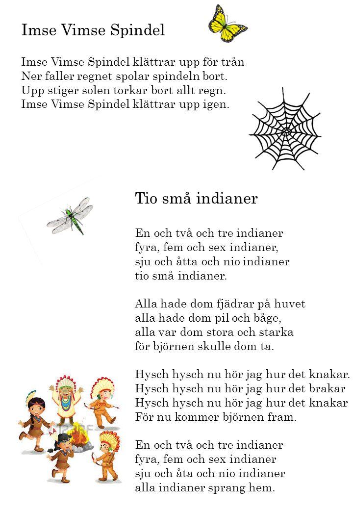 Imse Vimse Spindel Imse Vimse Spindel klättrar upp för trån Ner faller regnet spolar spindeln bort. Upp stiger solen torkar bort allt regn. Imse Vimse