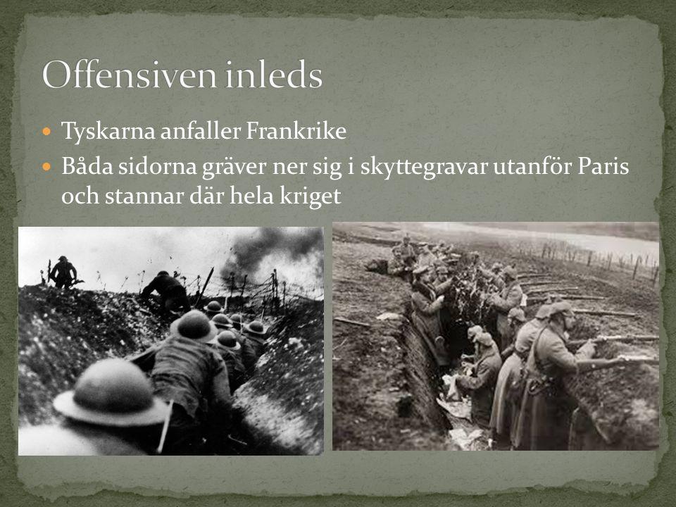 Tyskarna anfaller Frankrike Båda sidorna gräver ner sig i skyttegravar utanför Paris och stannar där hela kriget