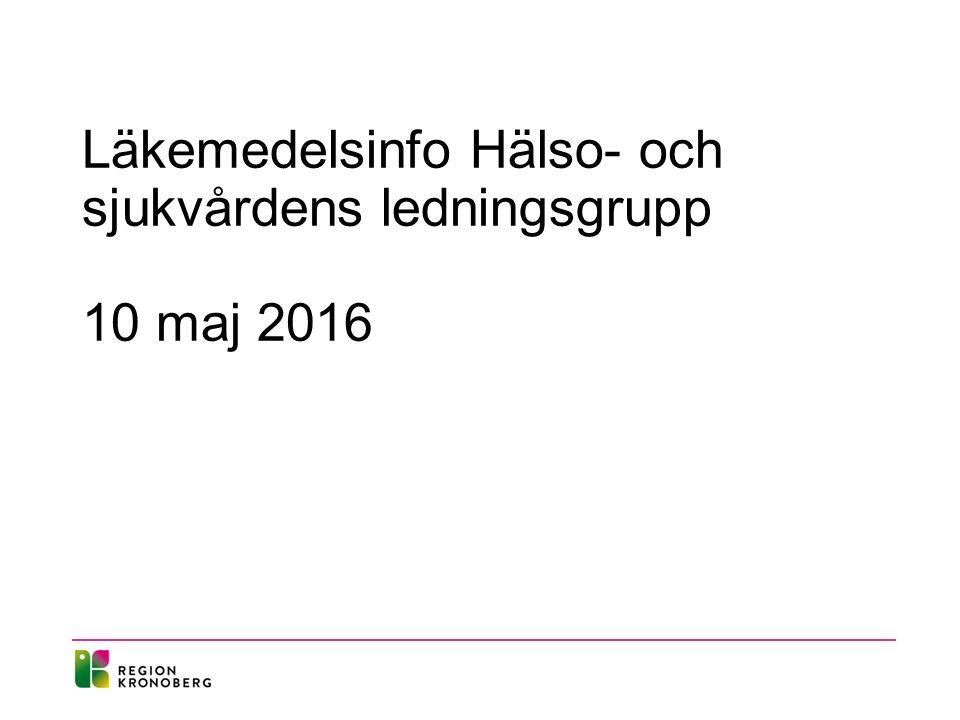 Läkemedelsinfo Hälso- och sjukvårdens ledningsgrupp 10 maj 2016
