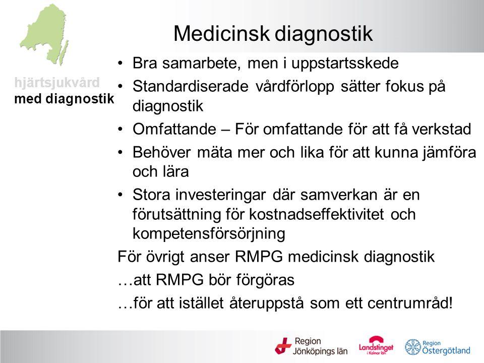 hjärtsjukvård med diagnostik Medicinsk diagnostik Bra samarbete, men i uppstartsskede Standardiserade vårdförlopp sätter fokus på diagnostik Omfattande – För omfattande för att få verkstad Behöver mäta mer och lika för att kunna jämföra och lära Stora investeringar där samverkan är en förutsättning för kostnadseffektivitet och kompetensförsörjning För övrigt anser RMPG medicinsk diagnostik …att RMPG bör förgöras …för att istället återuppstå som ett centrumråd!