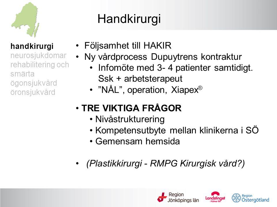 handkirurgi neurosjukdomar rehabilitering och smärta ögonsjukvård öronsjukvård Handkirurgi Följsamhet till HAKIR Ny vårdprocess Dupuytrens kontraktur Infomöte med 3- 4 patienter samtidigt.