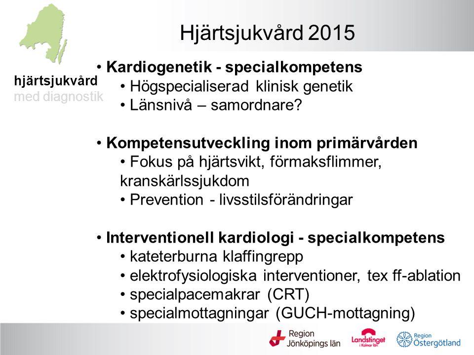 hjärtsjukvård med diagnostik Hjärtsjukvård 2015 Kardiogenetik - specialkompetens Högspecialiserad klinisk genetik Länsnivå – samordnare.