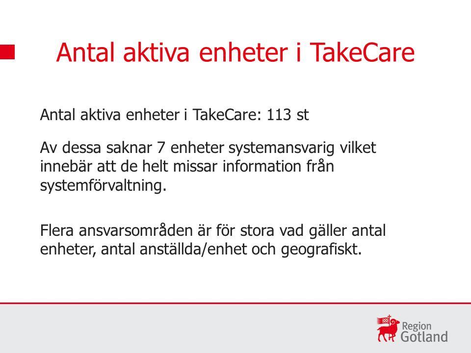 Antal aktiva enheter i TakeCare: 113 st Av dessa saknar 7 enheter systemansvarig vilket innebär att de helt missar information från systemförvaltning.
