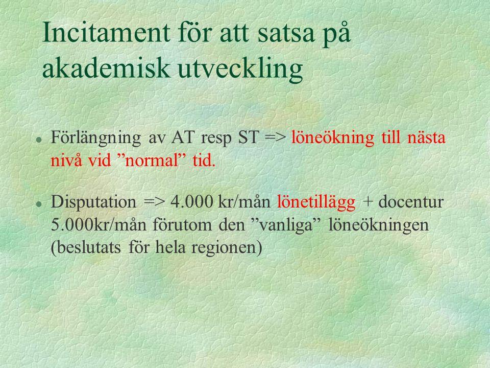 Incitament för att satsa på akademisk utveckling l Förlängning av AT resp ST => löneökning till nästa nivå vid normal tid.