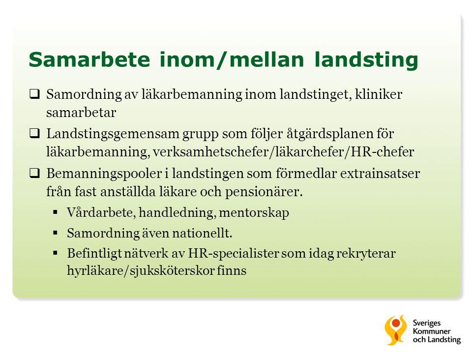 Samarbete inom/mellan landsting  Samordning av läkarbemanning inom landstinget, kliniker samarbetar  Landstingsgemensam grupp som följer åtgärdsplan