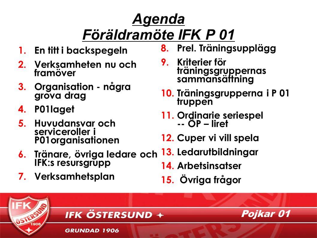 Pojkar 01 Agenda Föräldramöte IFK P 01 1.En titt i backspegeln 2.Verksamheten nu och framöver 3.Organisation - några grova drag 4.P01laget 5.Huvudansvar och serviceroller i P01organisationen 6.Tränare, övriga ledare och IFK:s resursgrupp 7.Verksamhetsplan 8.Prel.