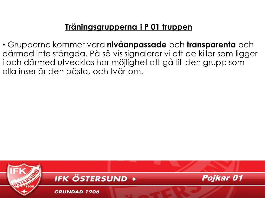 Träningsgrupperna i P 01 truppen Grupperna kommer vara nivåanpassade och transparenta och därmed inte stängda.