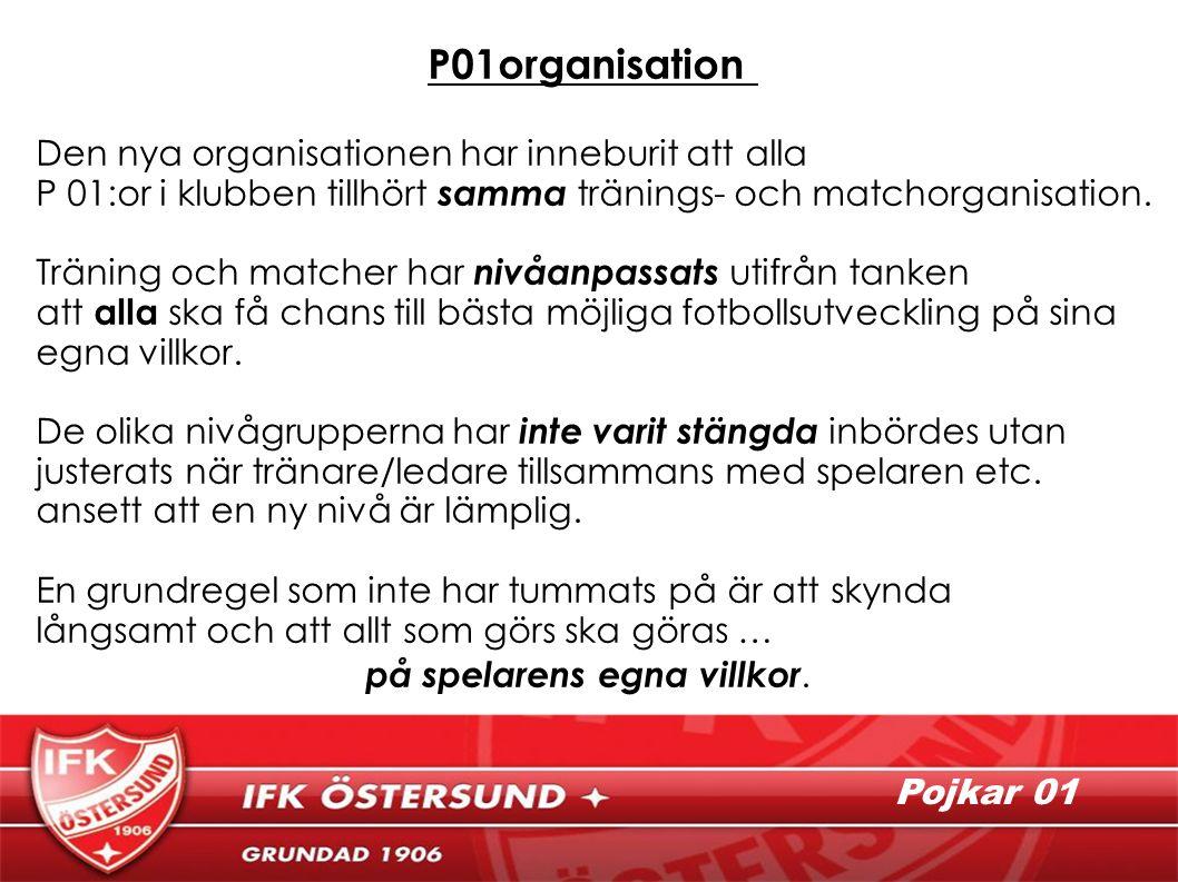 P01organisation Den nya organisationen har inneburit att alla P 01:or i klubben tillhört samma tränings- och matchorganisation.