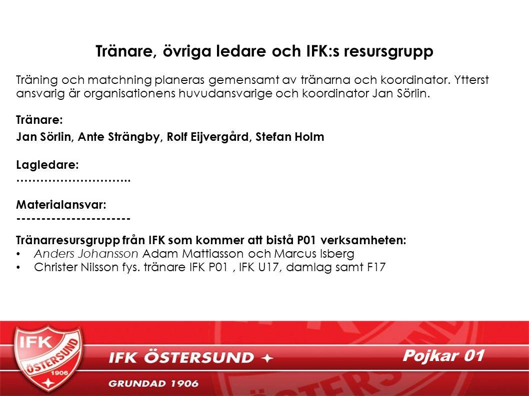 Pojkar 01 Tränare, övriga ledare och IFK:s resursgrupp Träning och matchning planeras gemensamt av tränarna och koordinator.