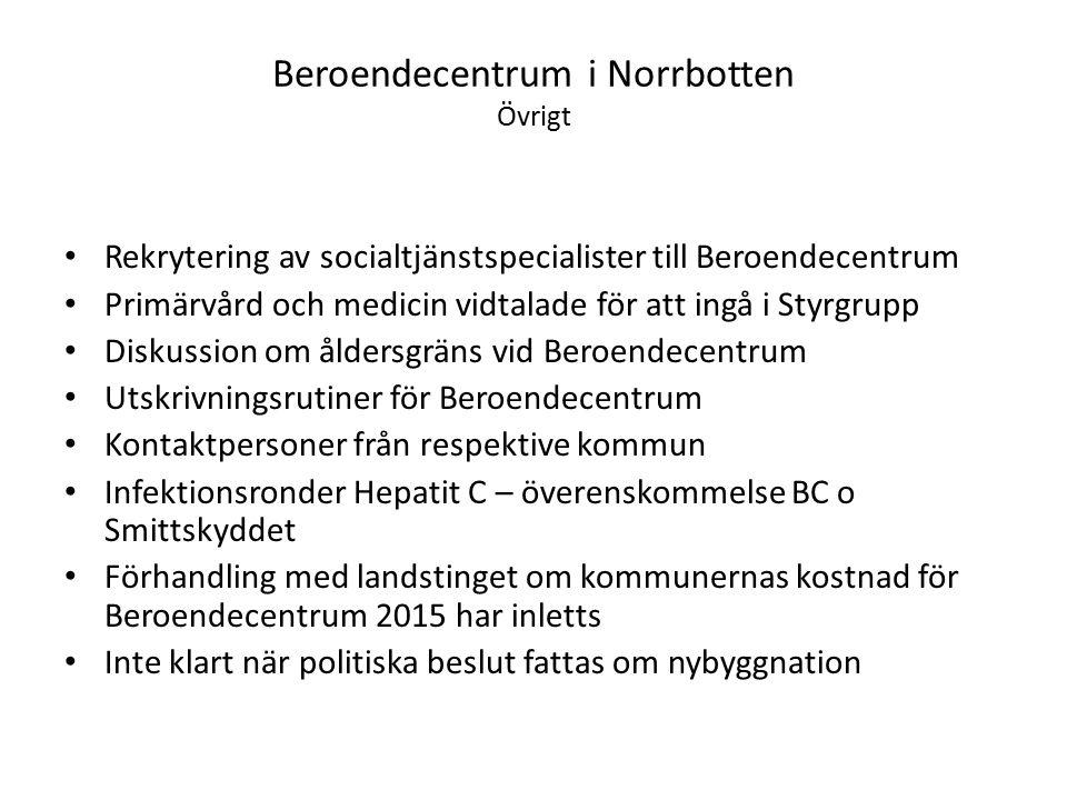 Beroendecentrum i Norrbotten Övrigt Rekrytering av socialtjänstspecialister till Beroendecentrum Primärvård och medicin vidtalade för att ingå i Styrg
