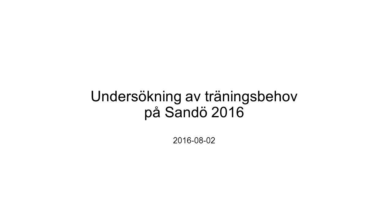 Undersökning av träningsbehov på Sandö 2016 2016-08-02