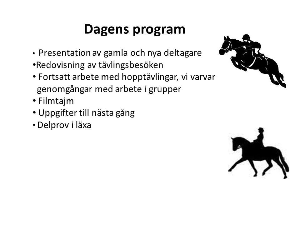 Dagens program Presentation av gamla och nya deltagare Redovisning av tävlingsbesöken Fortsatt arbete med hopptävlingar, vi varvar genomgångar med arbete i grupper Filmtajm Uppgifter till nästa gång Delprov i läxa
