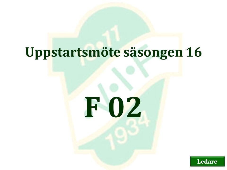 Uppstartsmöte säsongen 16 F 02 Ledare