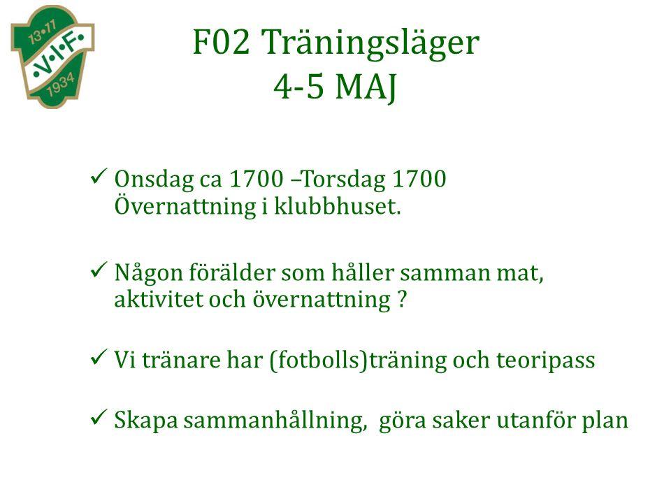 F02 Träningsläger 4-5 MAJ Onsdag ca 1700 –Torsdag 1700 Övernattning i klubbhuset.