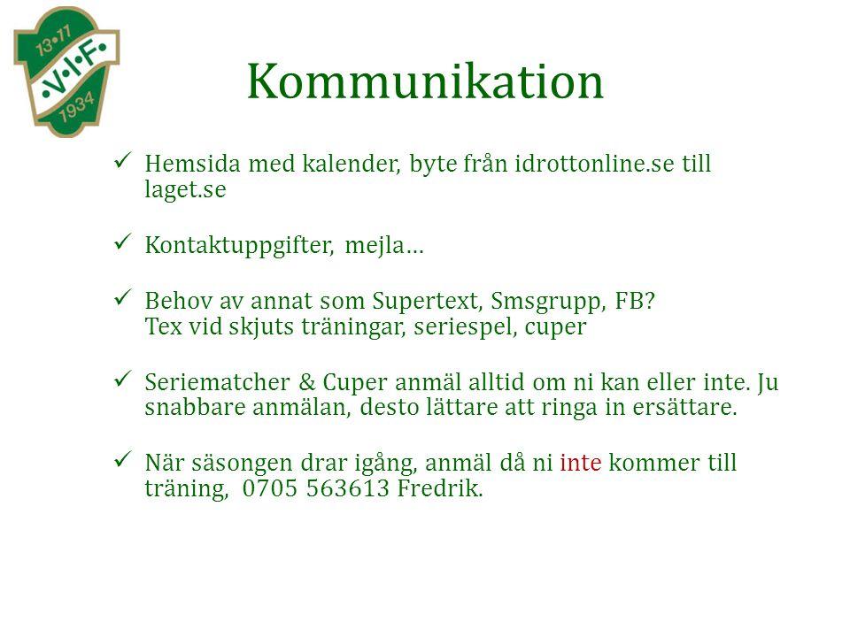 Kommunikation Hemsida med kalender, byte från idrottonline.se till laget.se Kontaktuppgifter, mejla… Behov av annat som Supertext, Smsgrupp, FB.