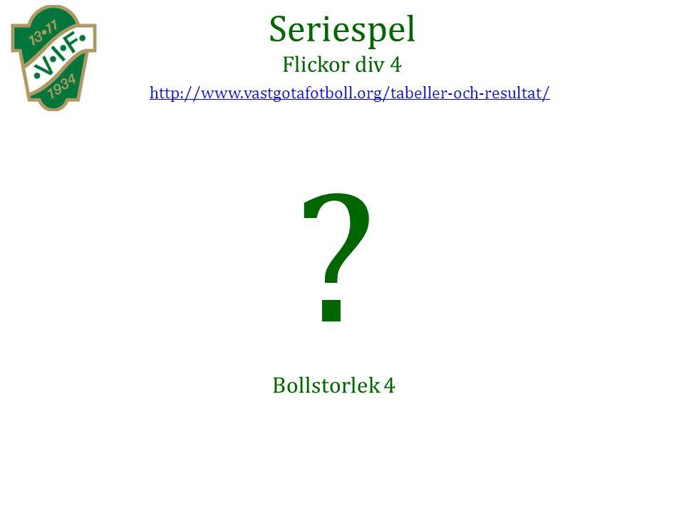Seriespel Flickor div 4 Bollstorlek 4 http://www.vastgotafotboll.org/tabeller-och-resultat/