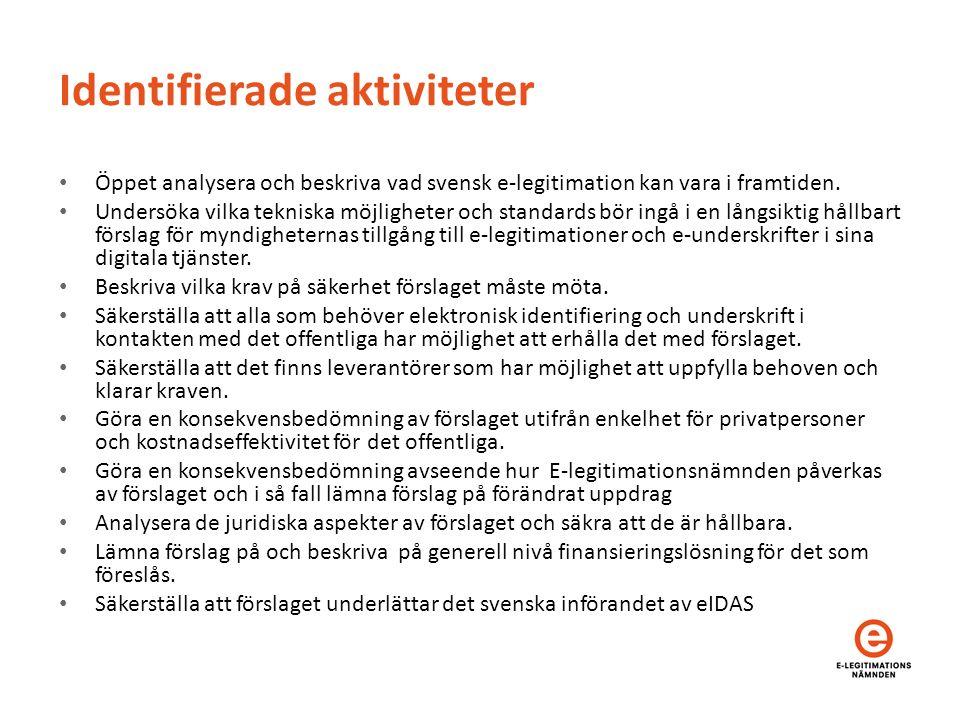 Identifierade aktiviteter Öppet analysera och beskriva vad svensk e-legitimation kan vara i framtiden.