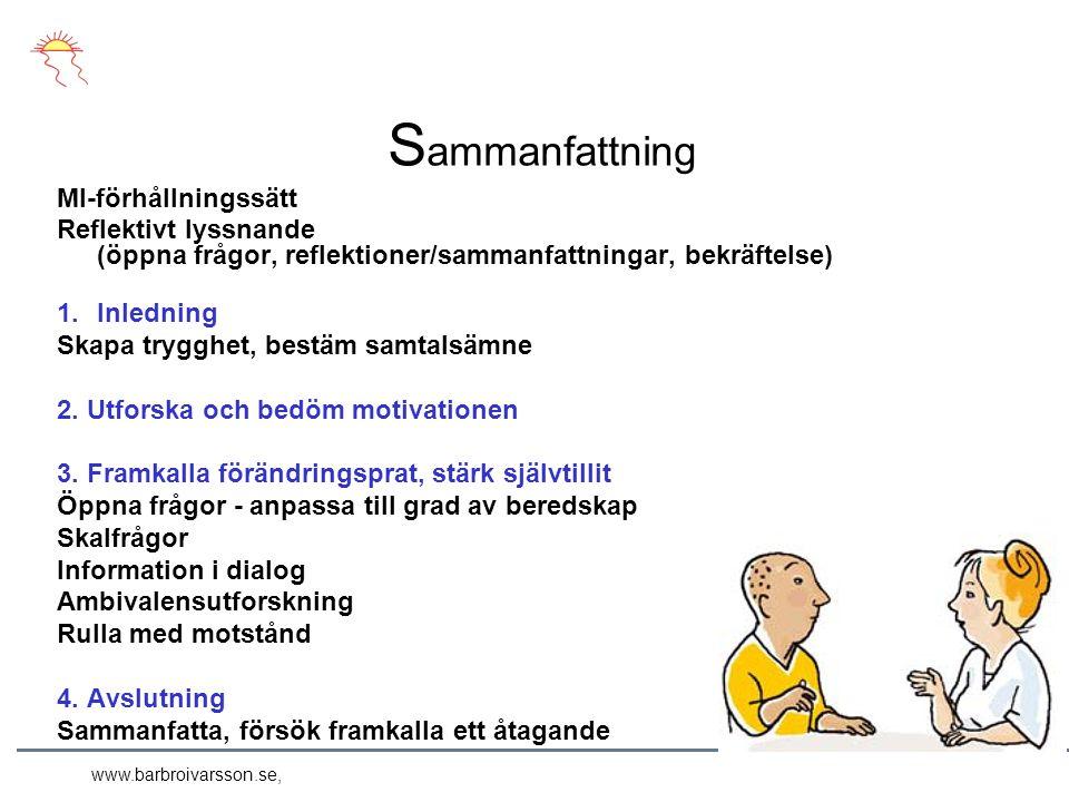 S ammanfattning MI-förhållningssätt Reflektivt lyssnande (öppna frågor, reflektioner/sammanfattningar, bekräftelse) 1.Inledning Skapa trygghet, bestäm samtalsämne 2.