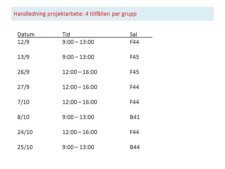 Handledning projektarbete: 4 tillfällen per grupp DatumTidSal 12/99:00 – 13:00F44 13/99:00 – 13:00 F45 26/912:00 – 16:00 F45 27/912:00 – 16:00 F44 7/1012:00 – 16:00 F44 8/109:00 – 13:00 B41 24/1012:00 – 16:00 F44 25/109:00 – 13:00 B44