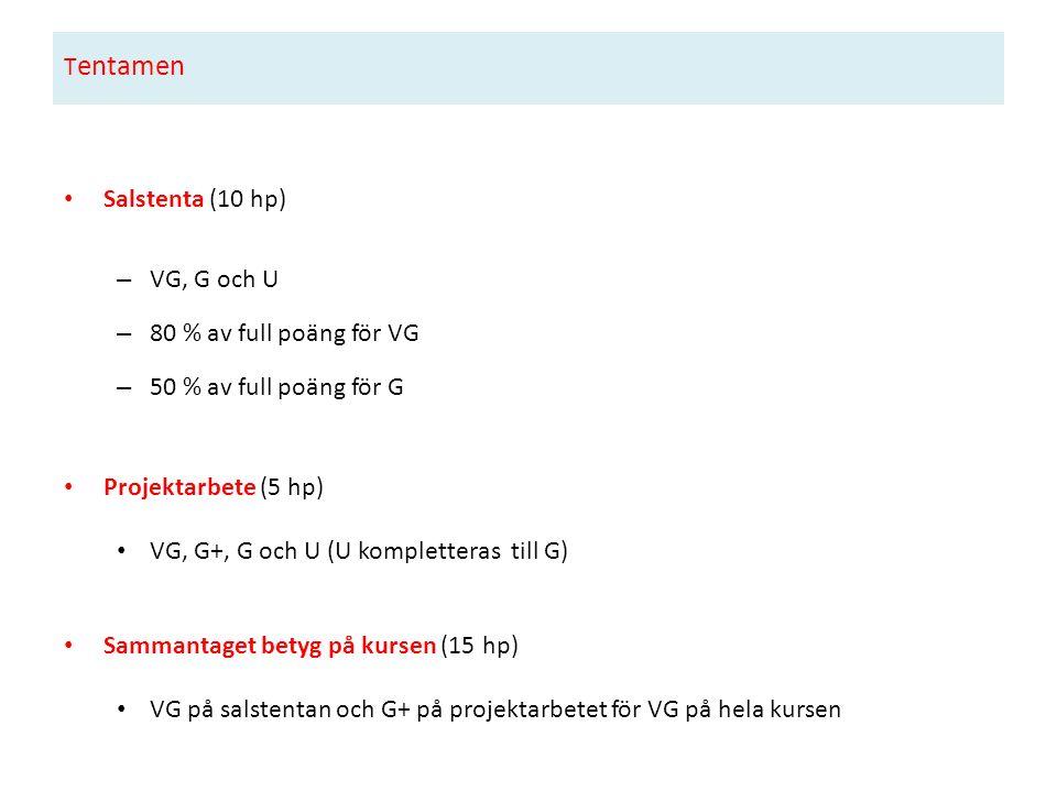 T entamen Salstenta (10 hp) – VG, G och U – 80 % av full poäng för VG – 50 % av full poäng för G Projektarbete (5 hp) VG, G+, G och U (U kompletteras till G) Sammantaget betyg på kursen (15 hp) VG på salstentan och G+ på projektarbetet för VG på hela kursen