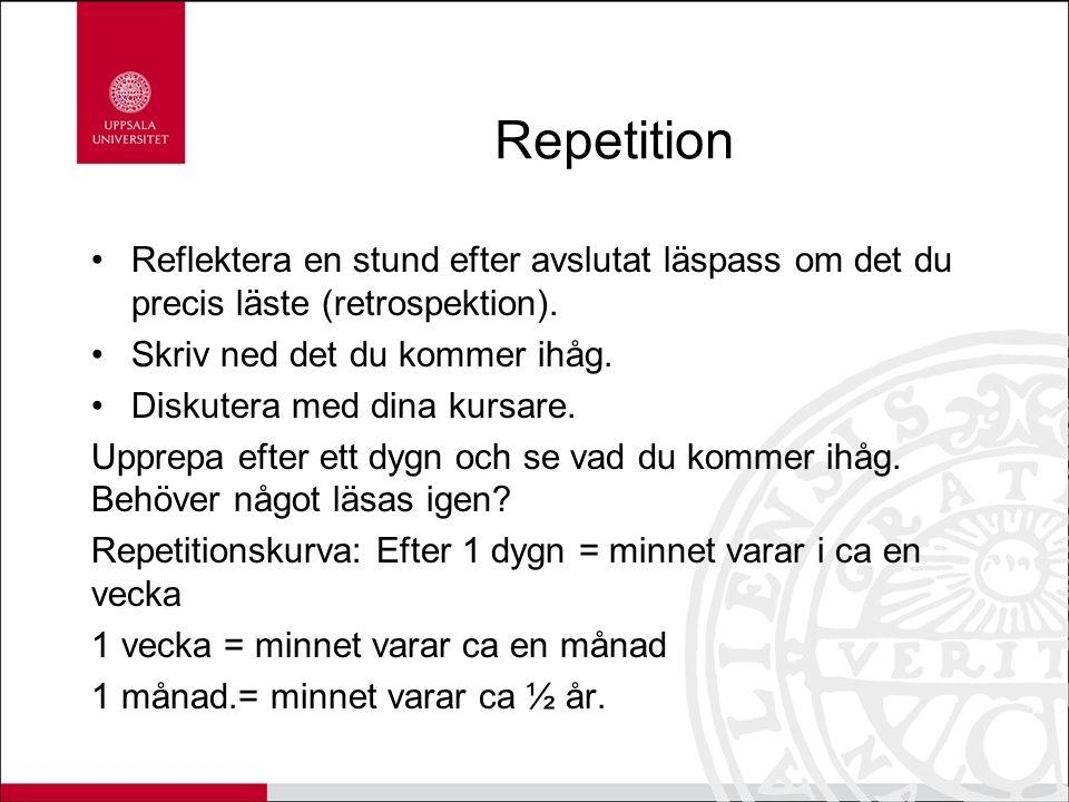 Repetition Reflektera en stund efter avslutat läspass om det du precis läste (retrospektion).