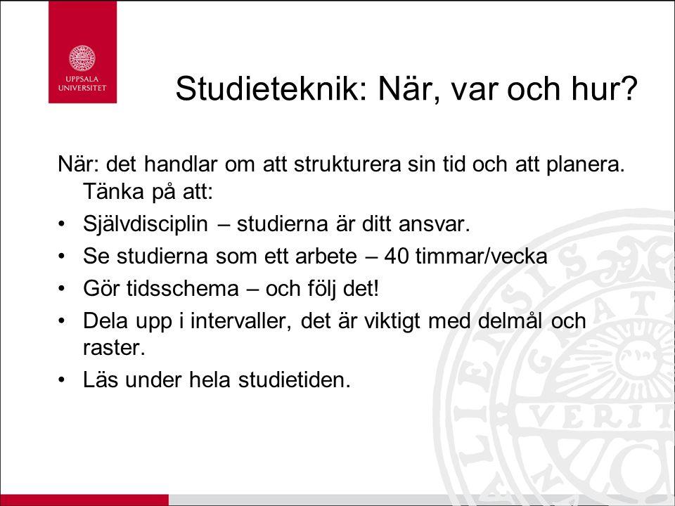Var: Var ska du studera för att vara effektiv.Hemma.
